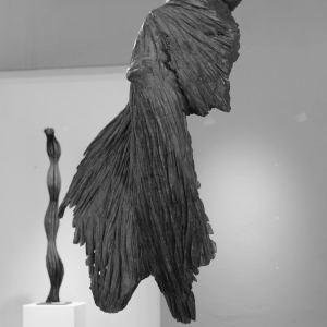 BROKEN, chestnut wood, patinated, H 126 cm, 2014